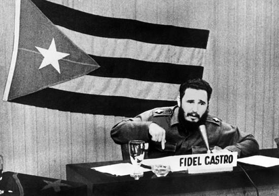 Cuban leader Fidel Castro gives a speech
