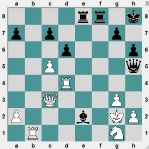 Bundesliga Dresden 2016.4.24  Jochens, Arne--Hoffmann, Paul. Black played 27…Qf5 and won easily enough.  But Black has better: Mate in 6 moves.