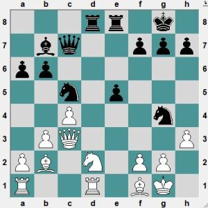 White had just played 21.h3?. Black to play and win!