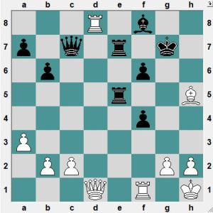White had just played 36.Bh5?. Black to play and win!