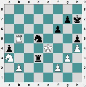White had just played his King to e4, attacking both Rook and Knight.  The move was accompanied with a draw offer. Why?