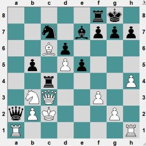 It looks as though both Queen's are lost, but this is not the case. Black to play and win.