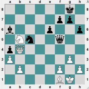 White had just played 36.Nxb5?  Black to play and win!