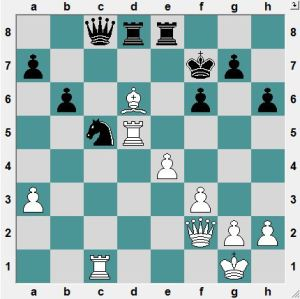 White had been nursing an edge until his last move (Qf2). Now Black has the chance to turn the tables on White!  How?