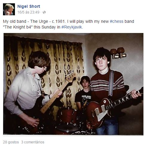 Nigel Short cut short (no pun intended) a promising career as a musician inorder to pursue chess.  But he will be back this weekend, re-united with his own band in Iceland!