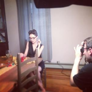 Behind the scenes for the photo shoot of BTS lingerie