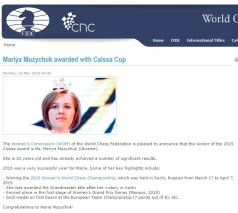 Bravo to Mariya!! http://www.fide.com/component/content/article/1-fide-news/9630-mariya-muzychuk-awarded-with-caissa-cup.html