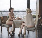 Women playing naked chess