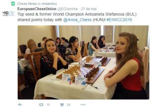 European Women's Championship. VERY strong. 112 players from 27 countries. 34 gms and wgms. 50 ims and wims. http://ecuwomen2016.ro/