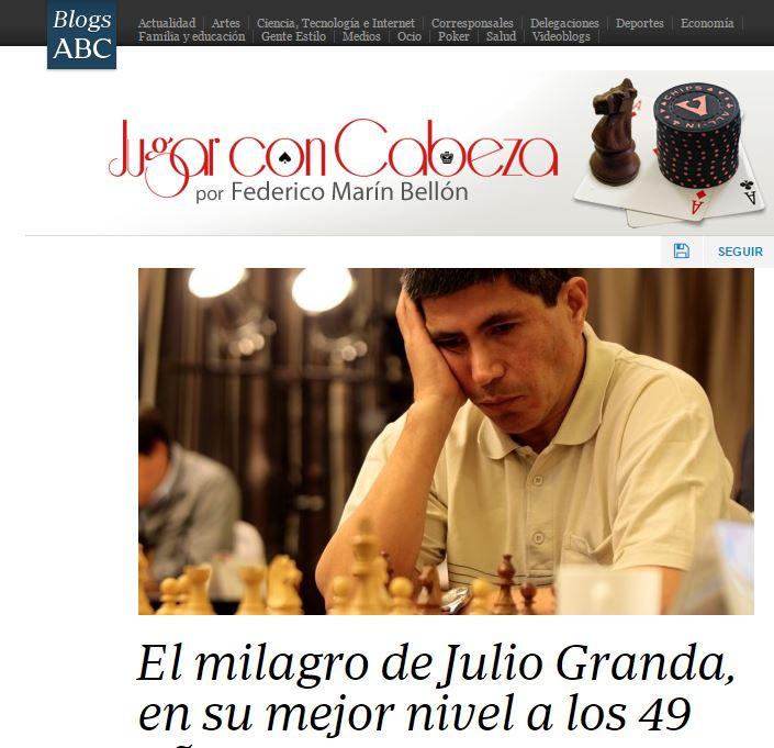 Granda getting some well deserved reputation in the Spanish press: http://abcblogs.abc.es/poker-ajedrez/public/post/milagro-julio-granda-mejor-nivel-ajedrez-elo-49-anos-18943.asp/