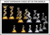 http://most-expensive.com/chess-set Renowned French artist and master of jewelry, Bernard Maquin created the Royal Diamond Chess set in 2005 bringing the game of chess to a whole new level. Noted for its abililty to combine fine art, jewelry, and the classic game of chess, this is one of the most expensive chess sets in the world. Thirty craftsmen, under the direction of Maquin spent over 4500 hours creating the expensive chess set. The work was done all by hand and when it was completed, the artists used 1168.75 grams of 14 carat white gold, and approximately 9900 black and white diamonds, bringing the total weight to 186.09 carats and the total cost to $500,000.