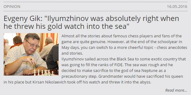 Kirsan throwing away a gold watch?? http://kirsan.today/en/opinion/item/724-evgeny-gik-ilyumzhinov-was-absolutely-right-when-he-threw-his-gold-watch-into-the-sea.html