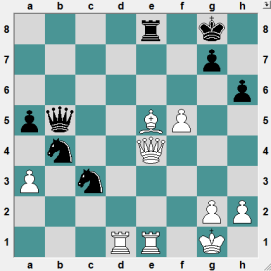 69th ch-RUS HL Kolomna 2016.6.22 Oganian, Miran--Volkov, Sergey. A wild position! Black had just played 36....Nc3, forking two of White's pieces. White to play and win!