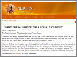 Karpov making statements upon hearing the death of his arch-rival (before Kasparov, ofcourse)
