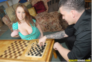 "From a real Porn film. ""There was an intense game of chest going on, oh I meant chess. Clover could not concentrate, but he still manage to pull out a win. Felicia was shaking her mega cleavage and showing of her beautiful smile, but she came up short....Read more here: http://www.realitykings.com/big-naturals/love_her_clover/home.htm"