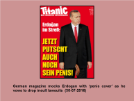 Now that Erdogan is showing his real side, the western media is beginning to have fun with him! https://www.rt.com/news/353989-erdogan-german-magazine-satire/