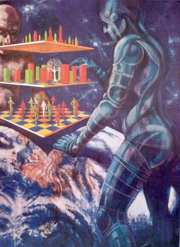 70-ish sci-fi illustration of curvatious robots playing advanced version of chess http://70sscifiart.tumblr.com/post/134226154782/space-chess