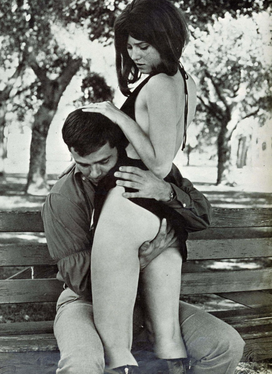 Meanwhile, back at the park...A scene from the 1971 French film 'Le Jardinier', that period of films greatly influenced by Henry Miller